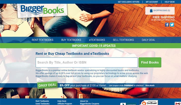 BiggerBooks Textbook rentals