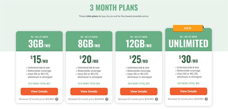 Mint Mobile Calling Plans - 3 month plans