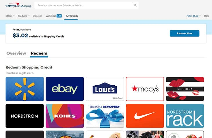 Capital One Shopping - redeem shopping credit