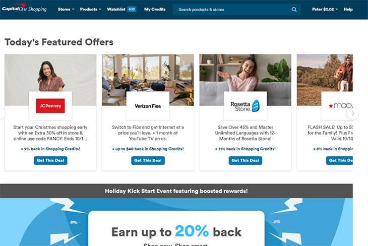 Capital One Shopping review - website homepage