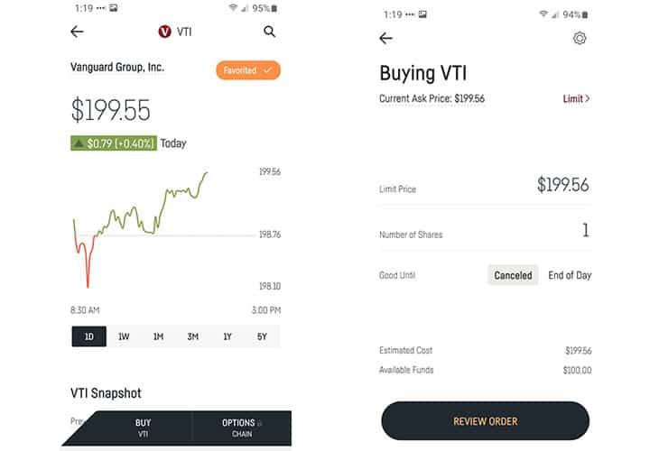 Dough app stock detail page