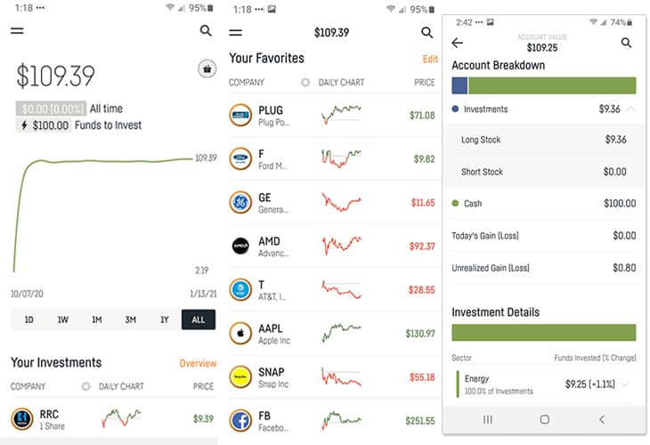 Dough app home screen and account breakdown