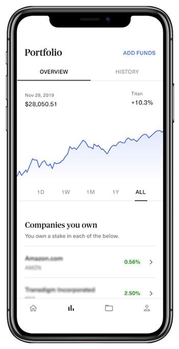 Titan Invest app portfolio screen