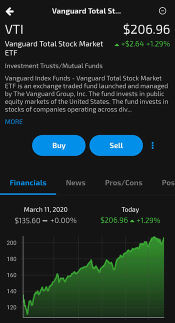 Nvstr review - app stock detail page