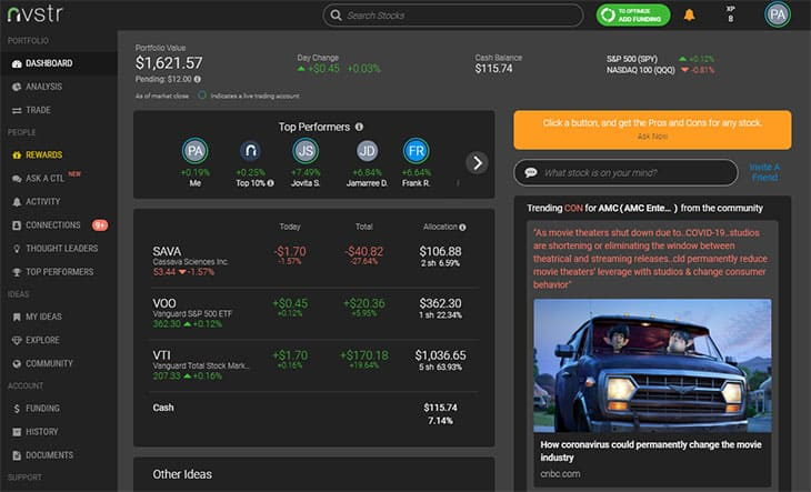 Nvstr website dashboard