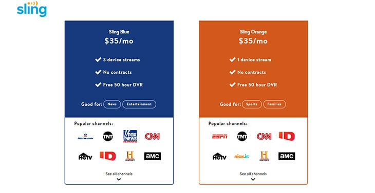 Sling TV Review - Sling Orange Vs Blue Channels and Pricing