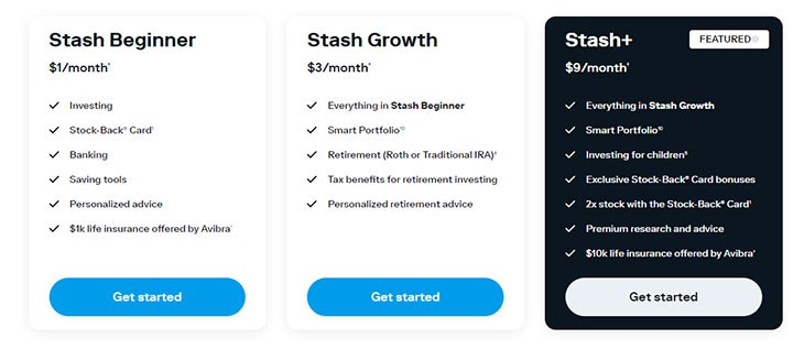 Stash Invest pricing and account options