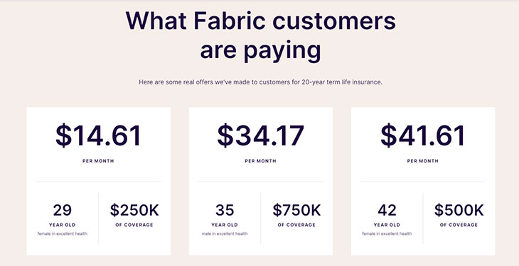 Fabric Life Insurance Pricing