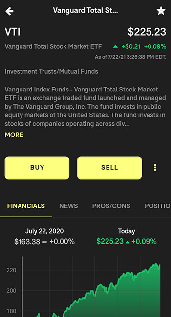 Tornado Investing App stock detail page