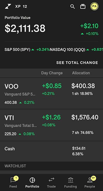 Tornado Investing App Portfolio Page