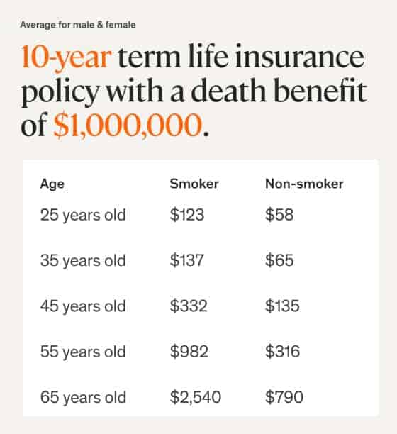 Ethos average term life insurance cost